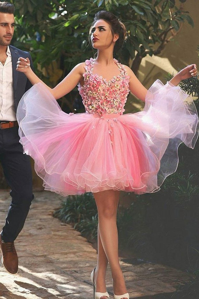 Straps Homecoming Dresses A Line Tulle With Handmade Flowers