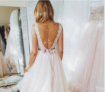 A Line Blush Pink Lace Sweetheart Backless Multi-Layered Organza Beach Wedding Gowns