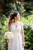 V Neck Wedding Dresses A Line Lace With Sash And Beads Sweep Train