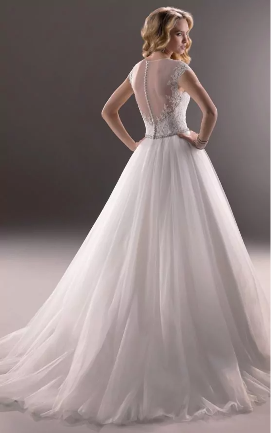 Simple White V-Neck Sleeveless Tulle Lace Beads Floor-Length Wedding Dress JS752