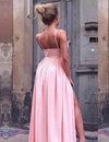 A Line Spaghetti Straps V Neck Prom Dresses with Pockets High Slit Satin Formal Dress P1131