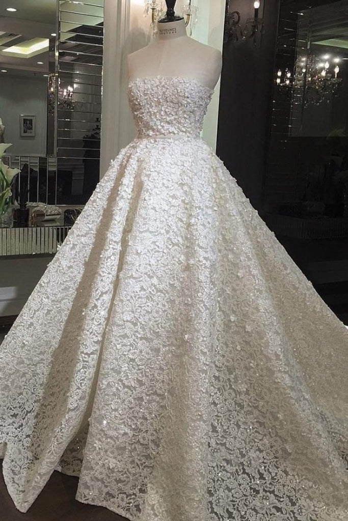 Strapless Wedding Dresses Lace A Line Sweep/Brush Train