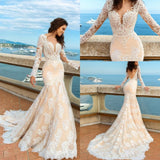White Lace Mermaid Deep V-Neck Backless Long Sleeve Wedding Dresses JS835
