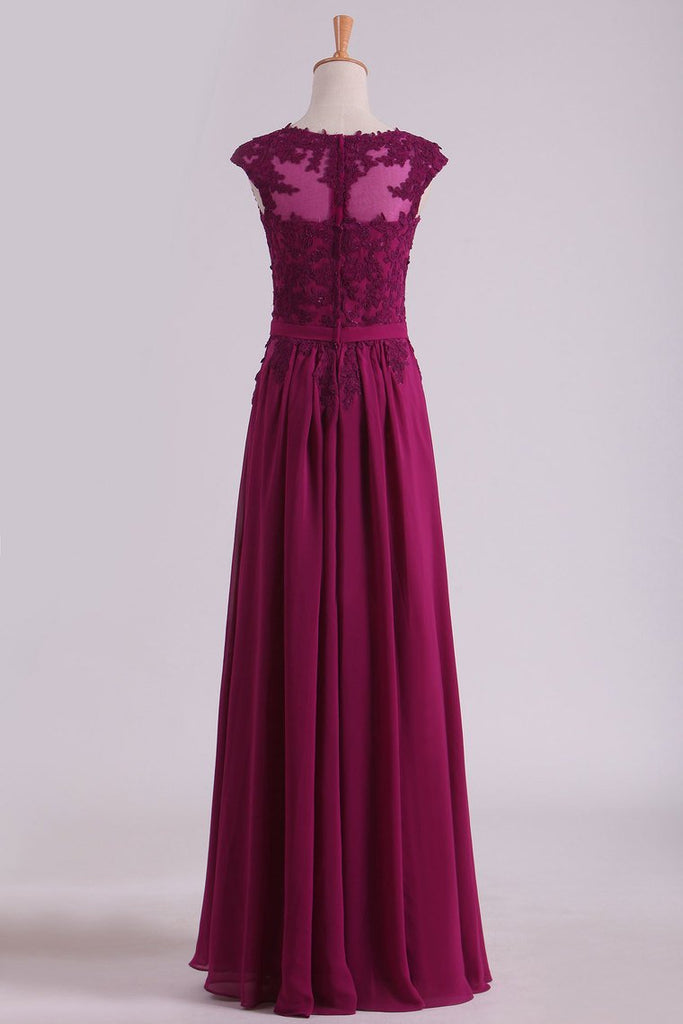 Evening Dresses Scoop A-Line Chiffon With Applique And Belt