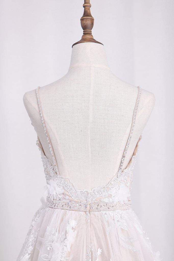 Spaghetti Straps A Line Lace Wedding Dresses With Sash And Handmade Flower
