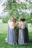 A Line Lace Bodice Tulle Long Round Neck Bridesmaid Dresses