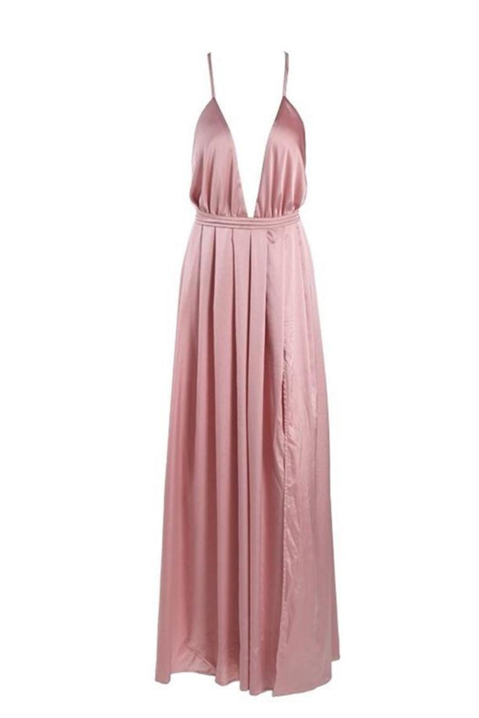Deep V-Neck Spaghetti Straps Pink Open Back Simple Cheap Prom Dresses