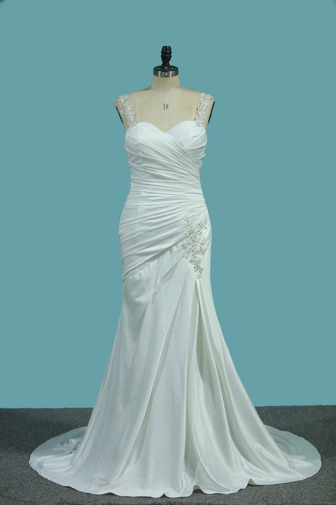 Stretch Satin Wedding Dresses Mermaid With Beads And Ruffles New Arrival