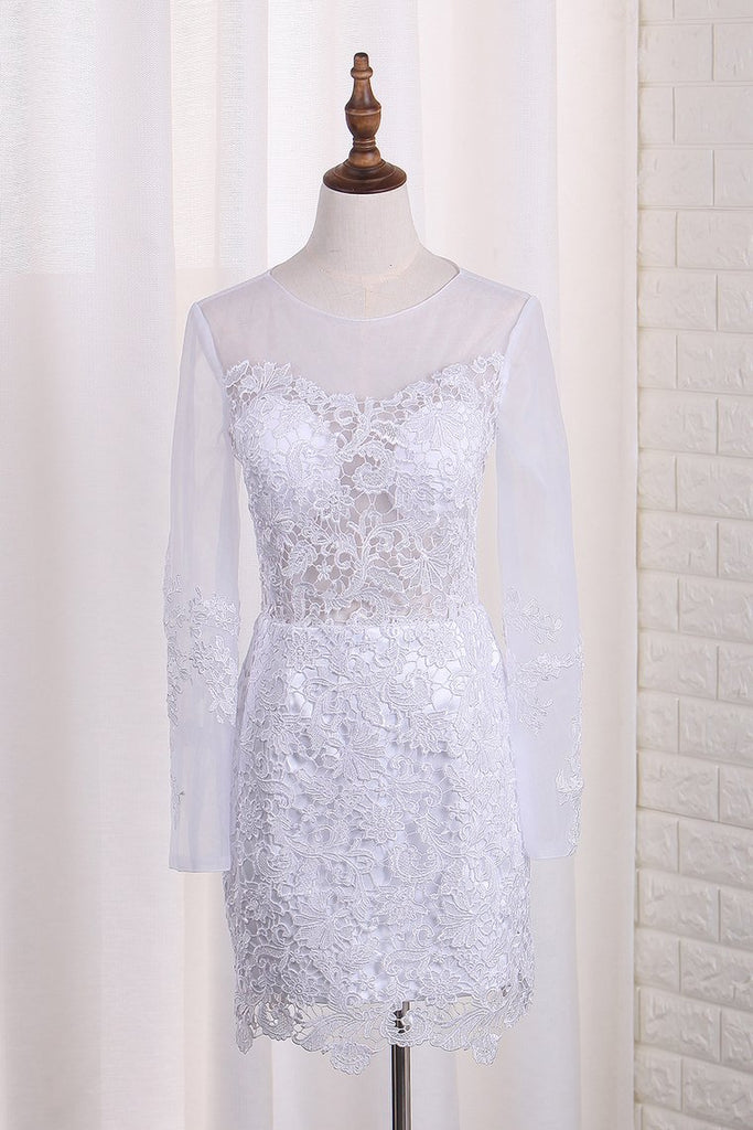 Scoop Long Sleeves Wedding Dresses Tulle & Organza With Applique Sweep Train Detachable