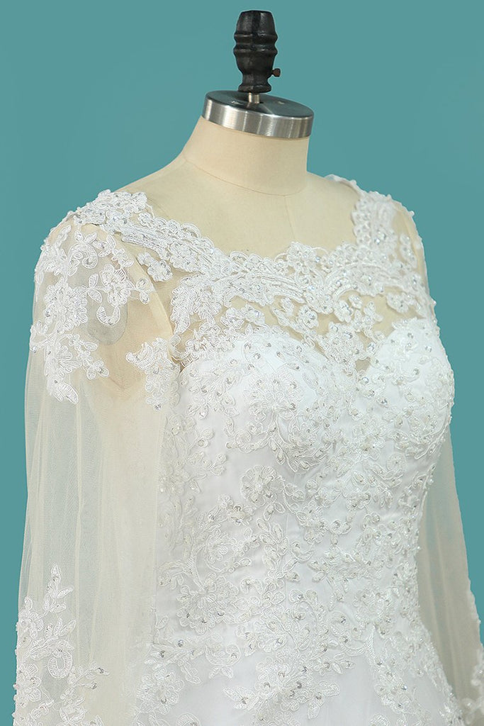 Wedding Dresses Scoop Long Sleeves A Line Tulle With Applique