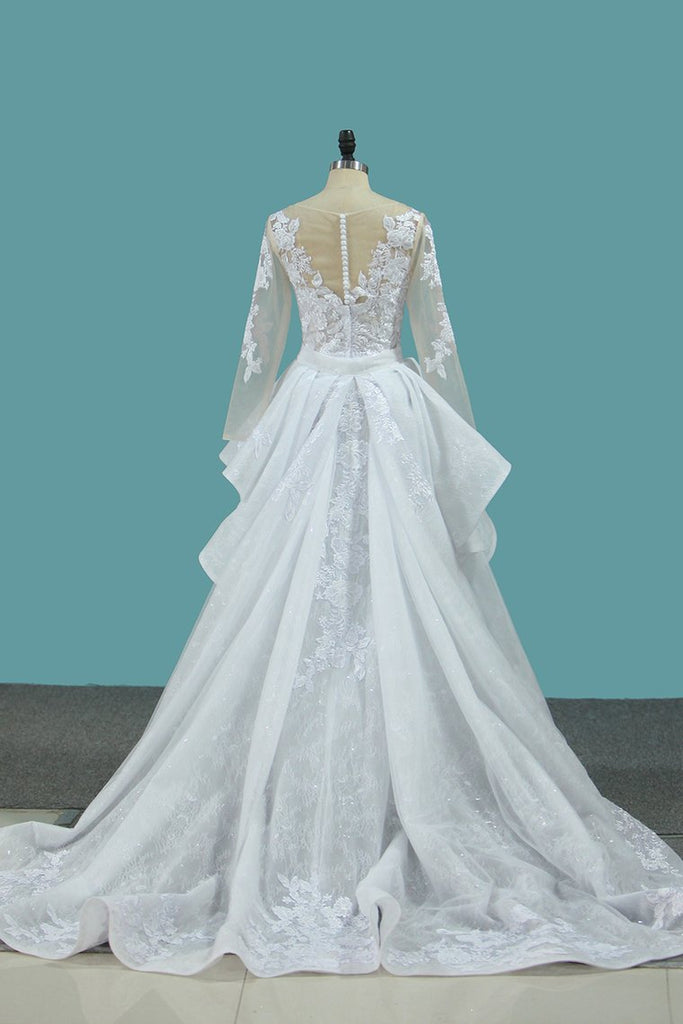 Scoop Long Sleeves Tulle & Lace Mermaid With Applique Chapel Train Detachable Wedding Dresses