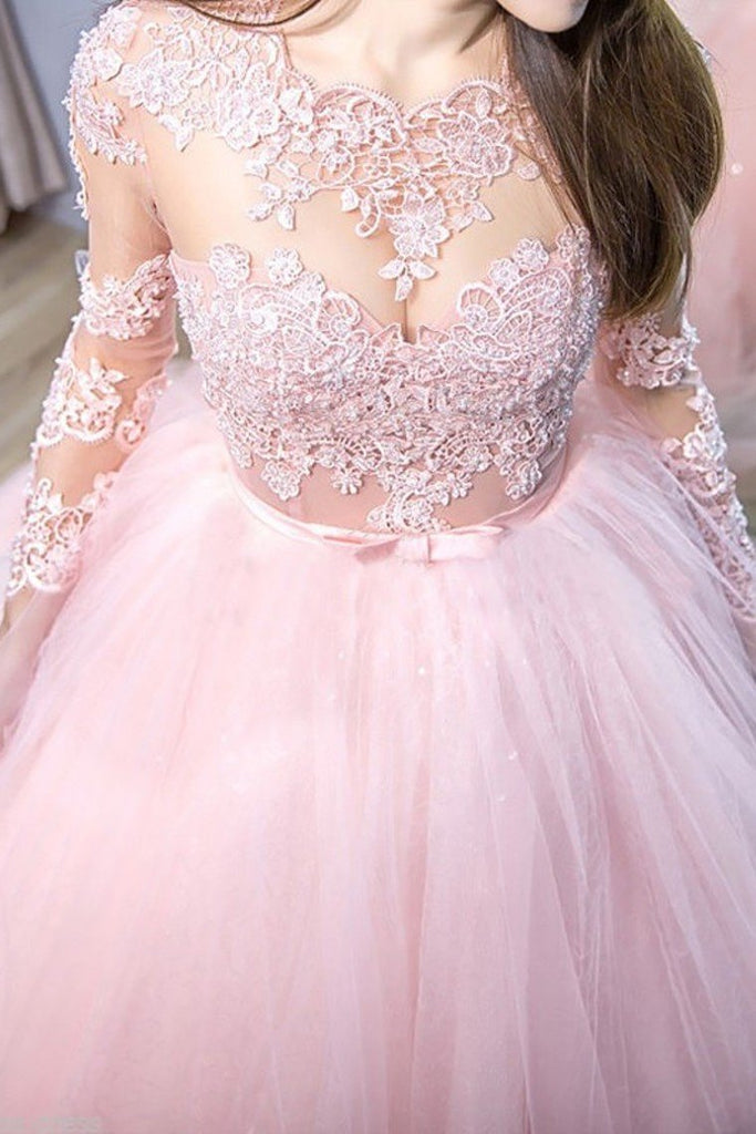 Pink Ball Gown Jewel Long Sleeves Sweep/Brush Train Lace Tulle Evening Dresses