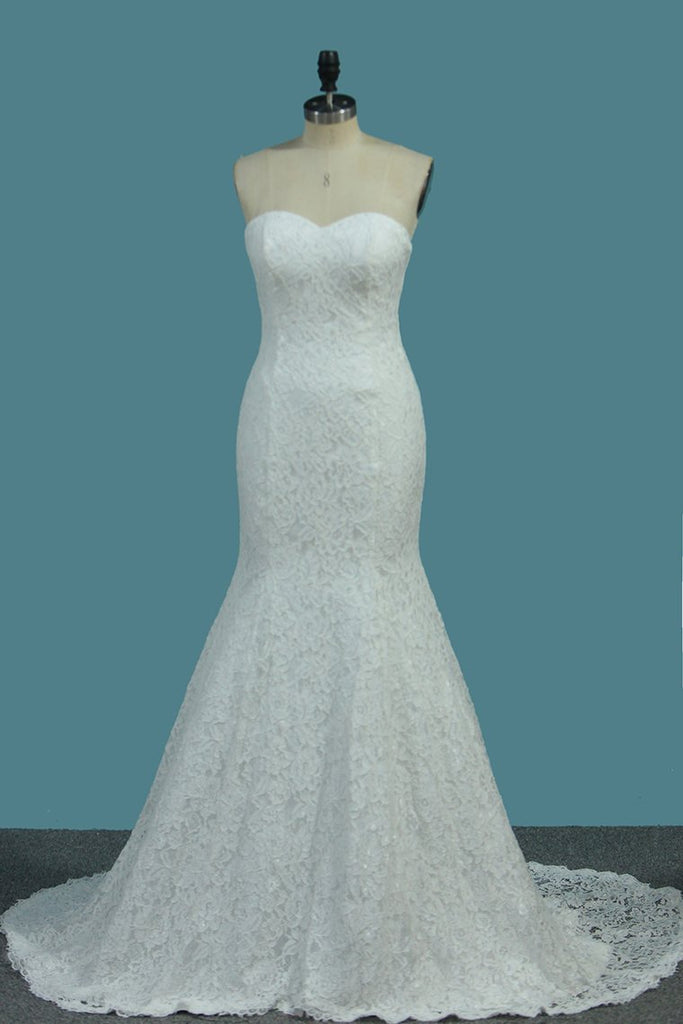 New Arrival Lace Mermaid Sweetheart Sweep Train Wedding Dresses