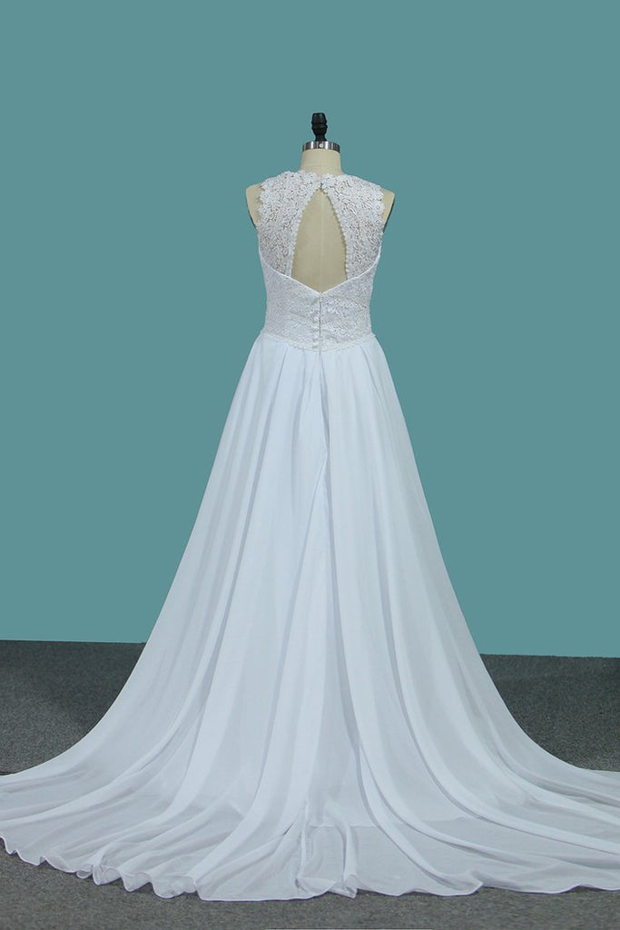Sexy Open Back Chiffon A Line Straps Wedding Dresses With Applique