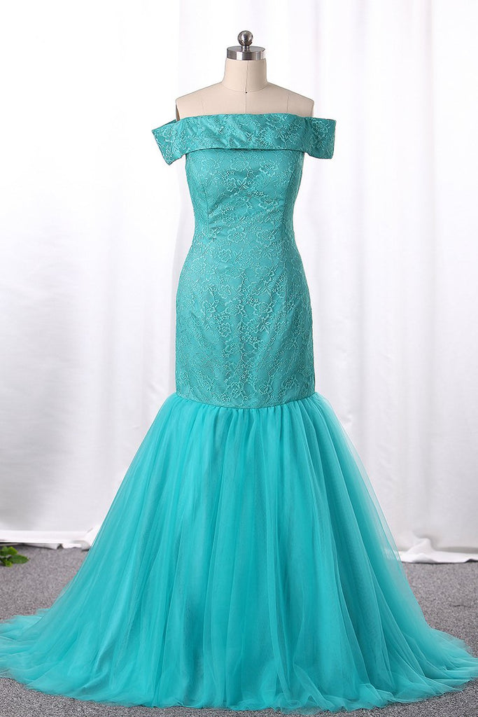 Mermaid Bridesmaid Dresses Boat Neck Tulle & Lace Sweep Train