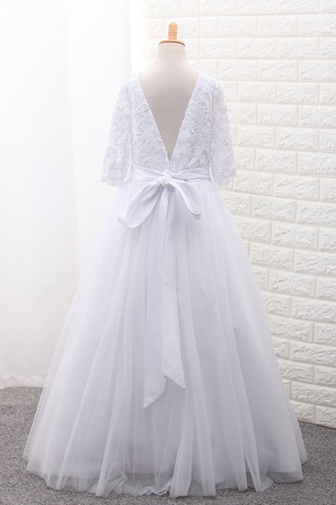 Tulle Scoop Flower Girl Dresses Ball Gown Mid-Length Sleeves With Sash