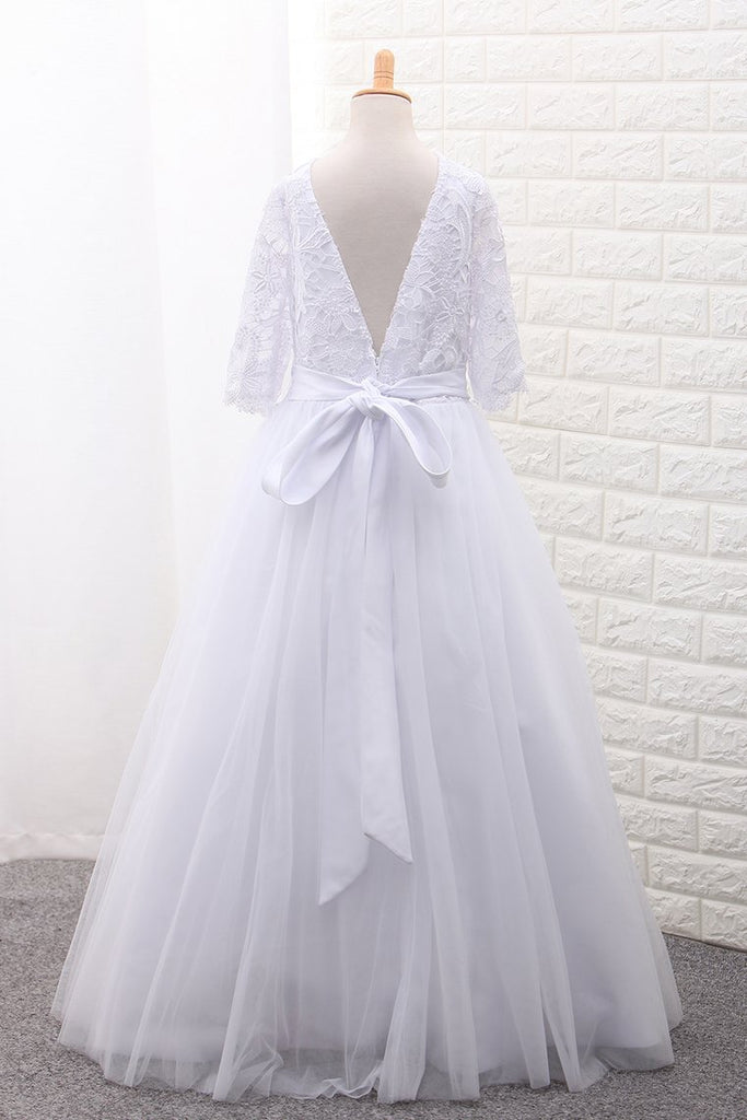 Mid-Length Sleeves Scoop Ball Gown Flower Girl Dresses Tulle With Sash