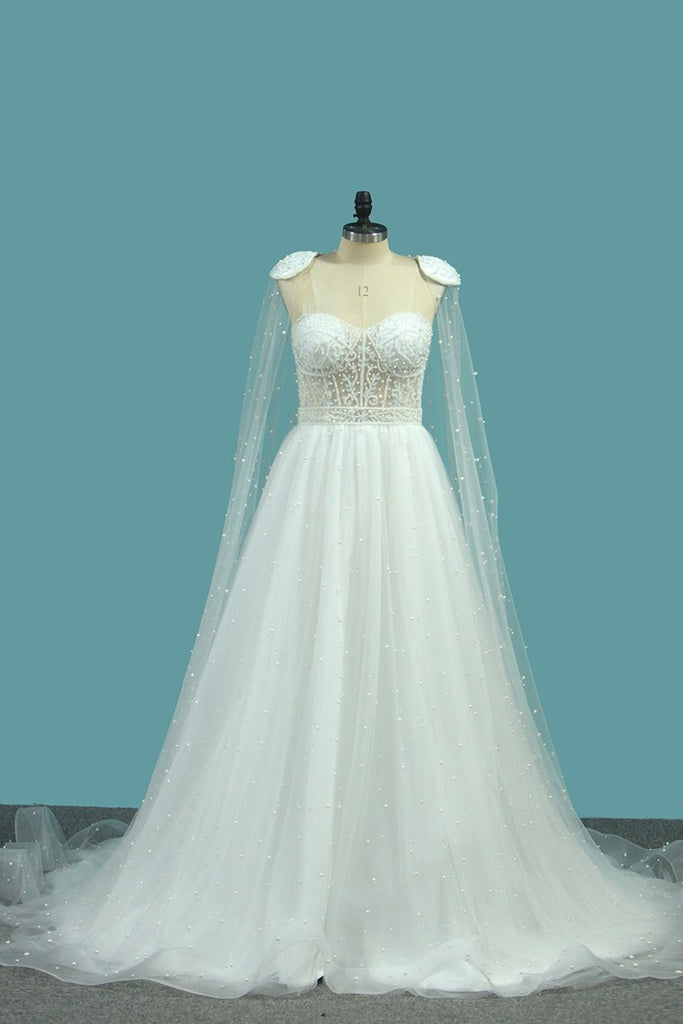 Sweetheart Wedding Dresses A Line Tulle With Beads Sweep Train