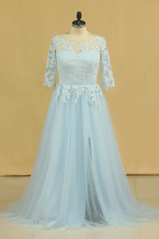 2019 Mother Of The Bride Dresses A Line Bateau Tulle With Applique And Sash Sweep Train Plus Size Light Sky Blue