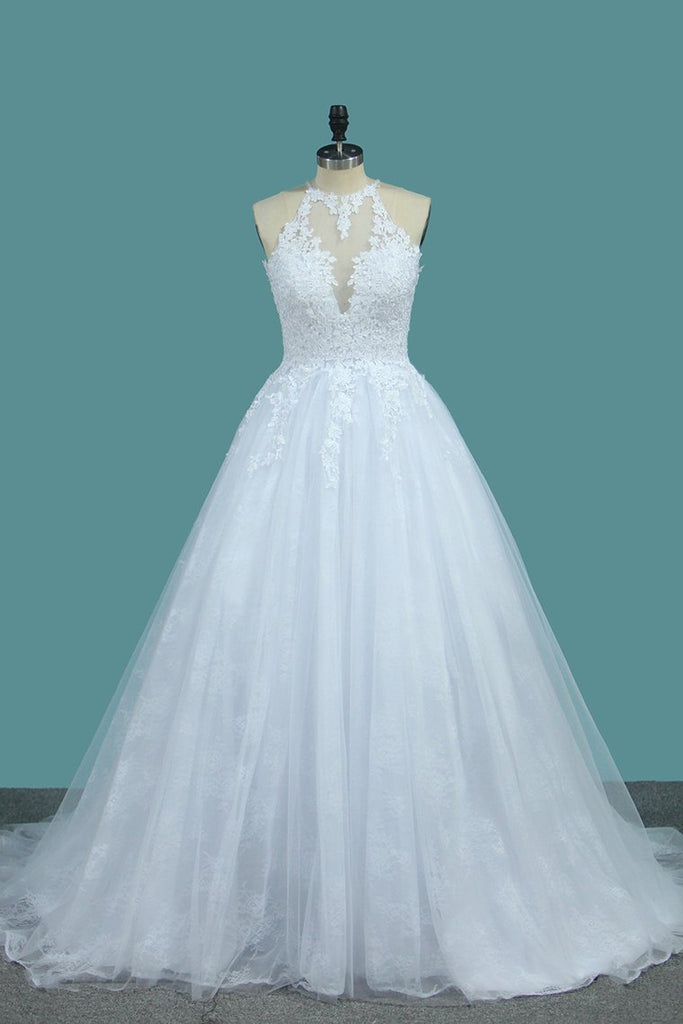 Tulle & Lace Wedding Dresses Scoop A Line With Applique Sweep Train