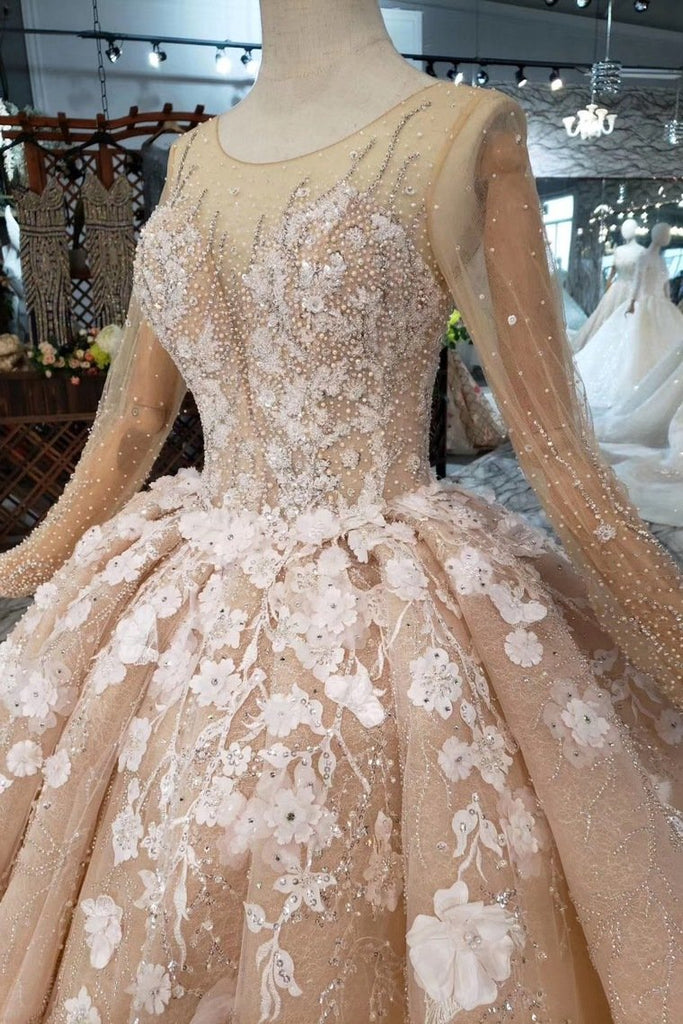 Ball Gown Wedding Dresses One Meter Train Scoop Top Quality Handmade Flowers Tulle