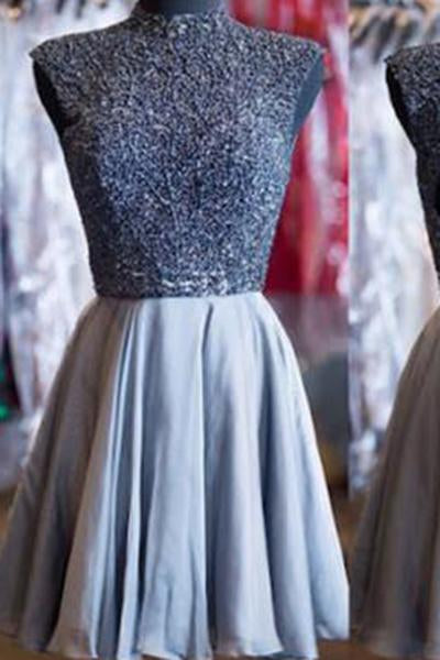 A-Line Open Back High Neck Beads Homecoming Dress For Teens JS333