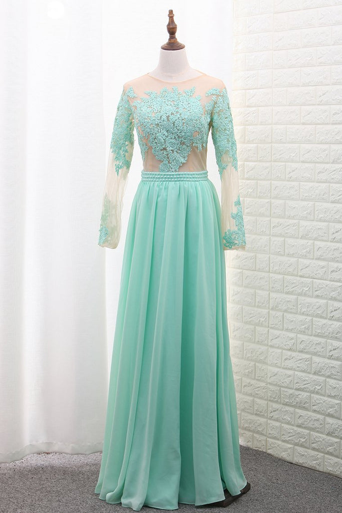 Scoop A Line Chiffon Long Sleeves Prom Dresses With Applique Floor Length