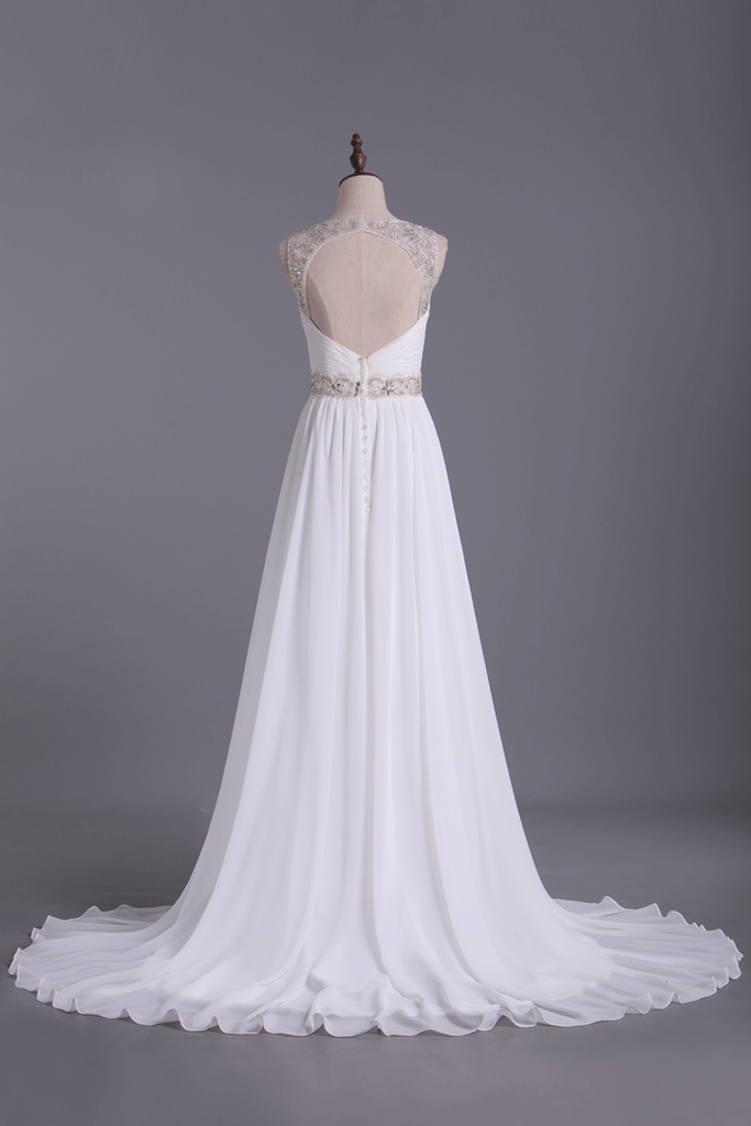 2019 Wedding Dresses Straps Court Train With Ruffles & Beads
