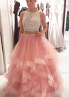 Charming A-Line Beading Two Pieces Long High Neck Tulle Floor-Length Prom Dresses JS216