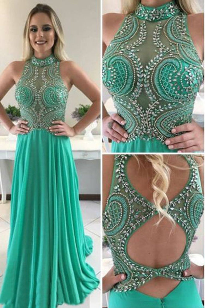 High Neck Open Back Beaded Bodice Chiffon Prom Dresses A Line