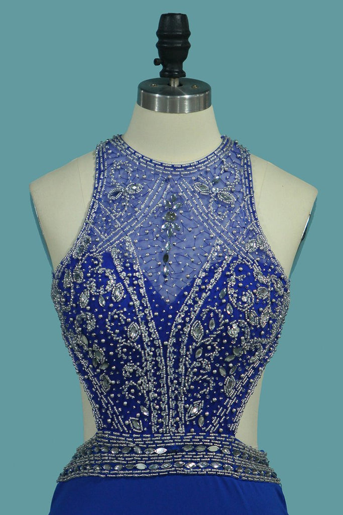 Mermaid Prom Dresses Open Back Scoop With Beads And Slit