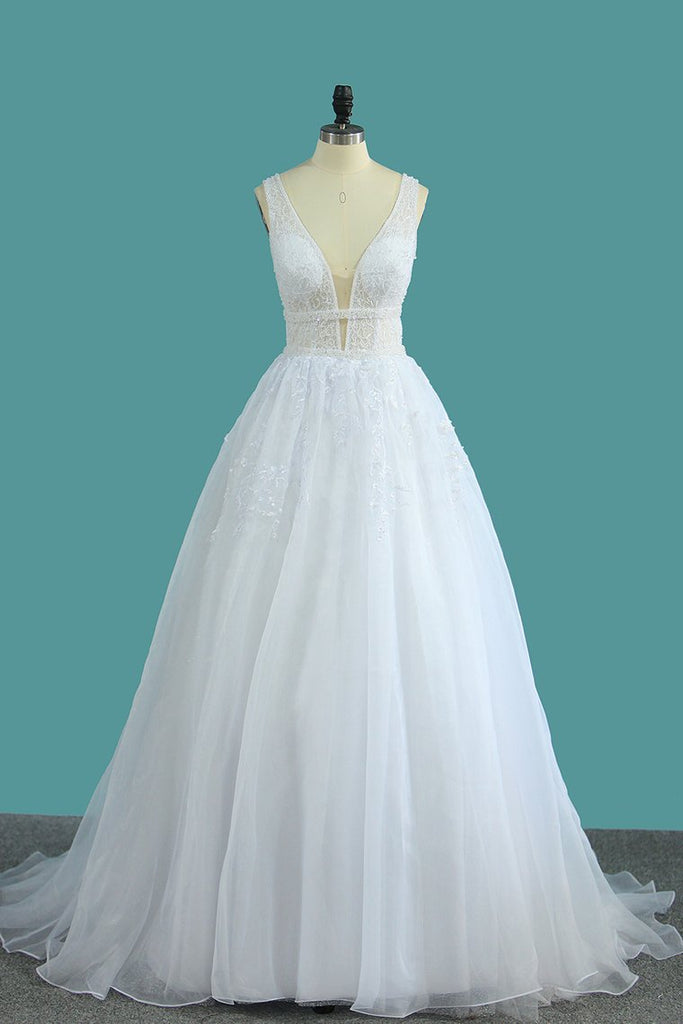 Organza V Neck A Line Wedding Dresses With Applique And Beads Open Back
