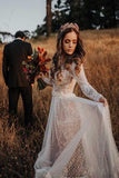 Long Sleeve Boho Wedding Dresses Lace Bohemian Backless Wedding Gowns