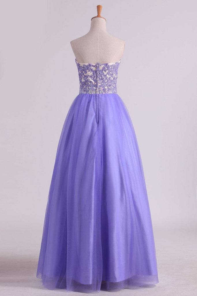 Sweetheart A Line Tulle Prom Dresses With Applique And Beads