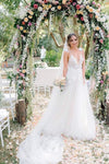 A Line Deep V Neck Spaghetti Straps Beads Backless Handmade Flower Wedding Dresses JS328