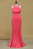 Scoop Mermaid Prom Dresses Satin Floor Length Zipper Up