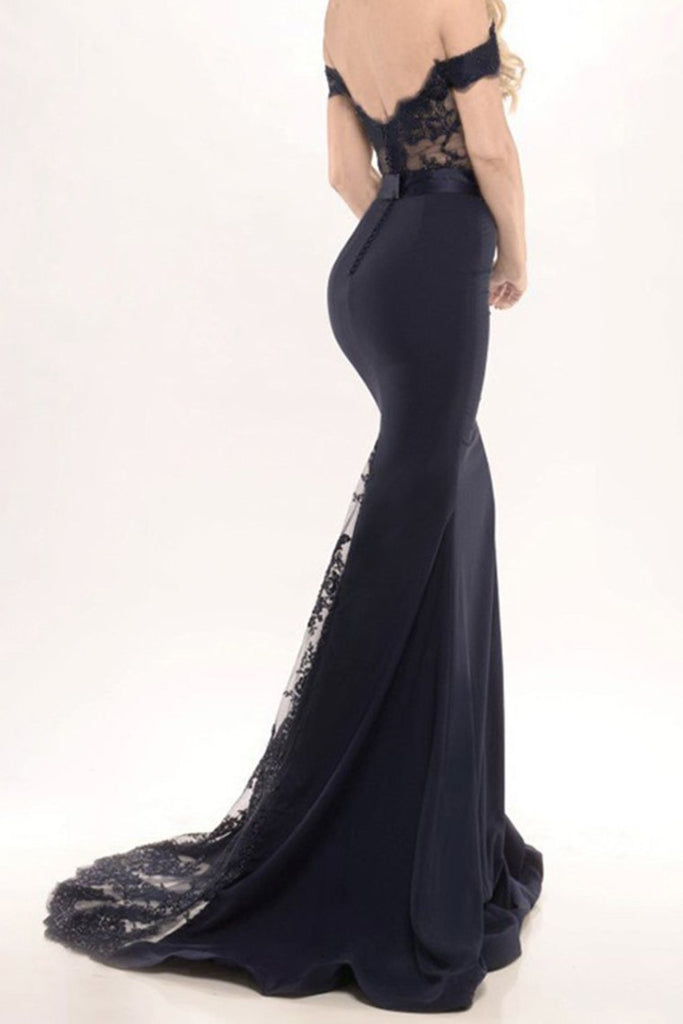 Modest Off The Shoulder Long Mermaid Black Prom Dresses Evening Dresses