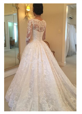 A-Line Lace Appliques V Neck Tulle Long Sleeve Ivory Covered Buttons Wedding Dresses