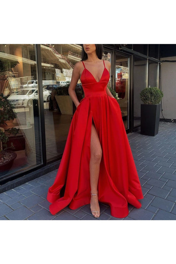 A Line Spaghetti Straps V Neck Prom Dresses With Pockets High Slit Satin Formal Dress
