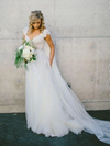 Elegant A-Line V Neck Cap Sleeves Tulle Appliques White Wedding Dresses with Lace JS713