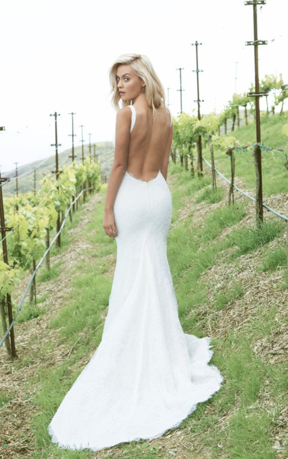 Sexy Open Back Straps Mermaid Lace Sweep Train Wedding Dresses