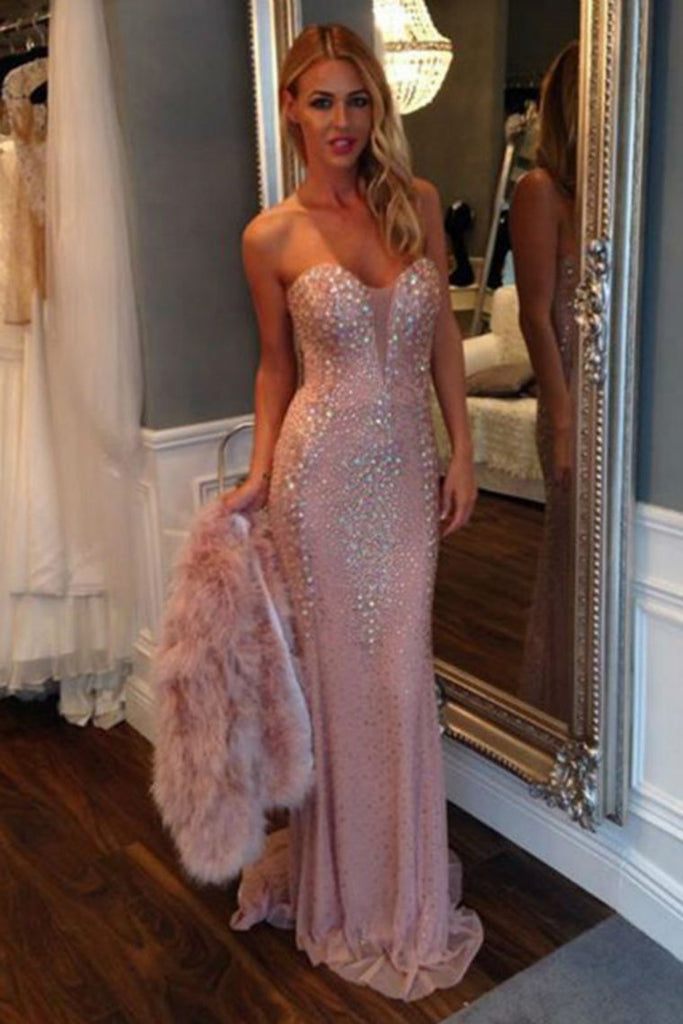 Sweetheart Tulle With Beading Mermaid Sweep Train Prom Dresses