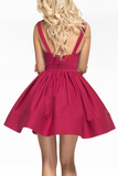 New Arrival V Neck Cocktail Dresses Short/Mini Satin A Line