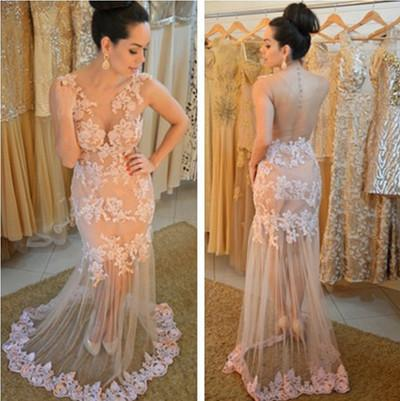 Charming Lace Real Made Prom Dresses Long Evening Dresses Prom Dresses On Sale L29