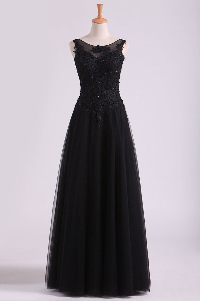 Black Bateau Evening Dresses Tulle With Applique & Beads Floor Length
