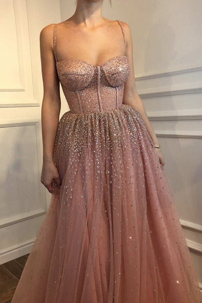 A-Line Sleeveless Spaghetti Straps Floor-Length Rhinestone Tulle Dresses Evening Dress