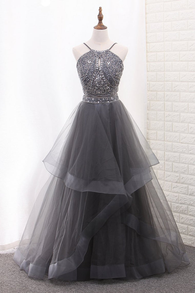 A Line Tulle Spaghetti Straps Two-Piece Prom Dresses With Beads