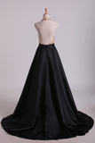 Open Back Halter Prom Dresses Beaded Bodice Satin Sweep Train