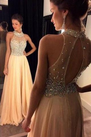 Champagne Chiffon Crystals Beaded Sleeveless A-line Open Back Halter Evening Dresses JS19