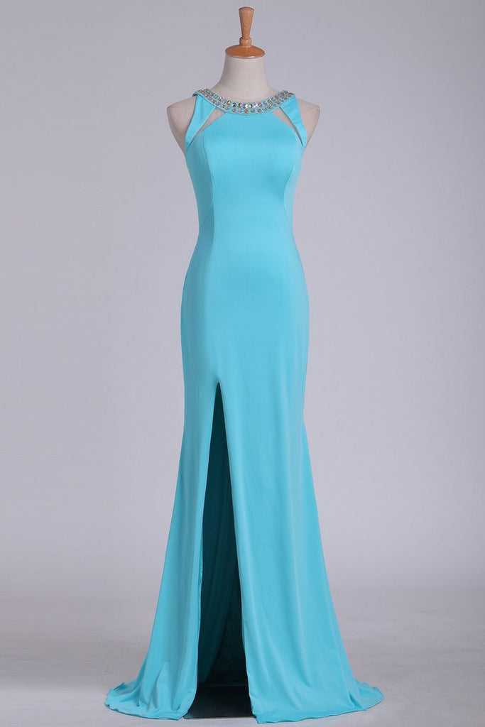 Sexy Open Back Scoop With Beads And Slit Prom Dresses Spandex Sheath